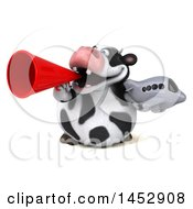 Clipart Graphic Of A 3d Holstein Cow Character Holding A Plane On A White Background Royalty Free Illustration