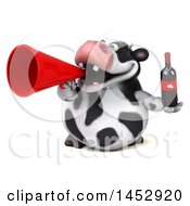 3d Holstein Cow Character Holding A Wine Bottle On A White Background