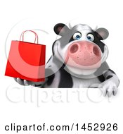 3d Holstein Cow Character Holding A Shopping Bag On A White Background