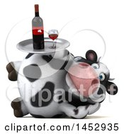 3d Holstein Cow Character Holding A Wine Tray On A White Background