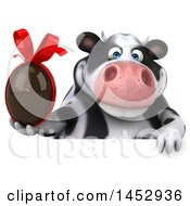 3d Holstein Cow Character Holding A Chocolate Egg On A White Background