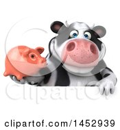 3d Holstein Cow Character Holding A Piggy Bank On A White Background