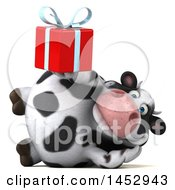 Poster, Art Print Of 3d Holstein Cow Character Holding A Gift On A White Background