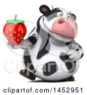 3d Holstein Cow Character Holding A Strawberry On A White Background