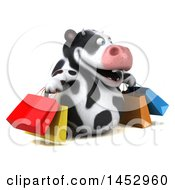 3d Holstein Cow Character Carrying Shopping Bags On A White Background