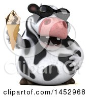 3d Holstein Cow Character Holding An Ice Cream Cone On A White Background