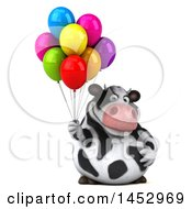 3d Holstein Cow Character Holding Party Balloons On A White Background