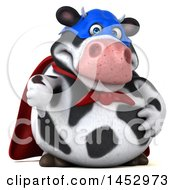 3d Holstein Super Cow Character On A White Background