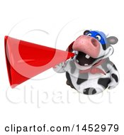 3d Holstein Super Cow Character Using A Megaphone On A White Background