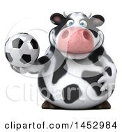 3d Holstein Cow Character Holding A Soccer Ball On A White Background