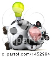 3d Holstein Cow Character Holding A Light Bulb On A White Background