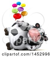 3d Holstein Cow Character Holding Speech Bubbles On A White Background
