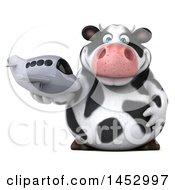 3d Holstein Cow Character Holding A Plane On A White Background