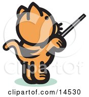 Orange Cat Standing On His Hind Legs And Using A Pointer Stick To Point Something Out Or Using A Wand To Conduct An Orchestra