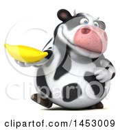 3d Holstein Cow Character Holding A Banana On A White Background
