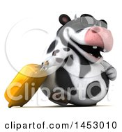 3d Holstein Cow Character Traveler On A White Background