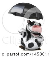 3d Holstein Cow Character Holding An Umbrella On A White Background