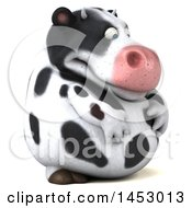 3d Holstein Cow Character On A White Background