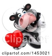 Poster, Art Print Of 3d Holstein Cow Character Holding A Love Heart On A White Background