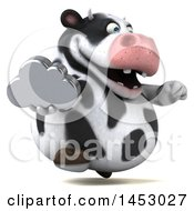 3d Holstein Cow Character Holding A Cloud On A White Background