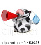 3d Holstein Cow Character Holding A Water Drop On A White Background