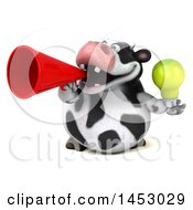 3d Holstein Cow Character Holding A  On A White Background