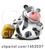 Poster, Art Print Of 3d Holstein Cow Character Traveler On A White Background