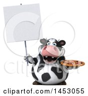 3d Holstein Cow Character Holding A Pizza On A White Background