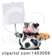 3d Holstein Cow Character Holding A Hot Dog On A White Background