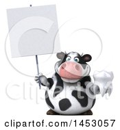 3d Holstein Cow Character Holding A Tooth On A White Background