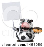 3d Holstein Cow Character Holding A Donut On A White Background
