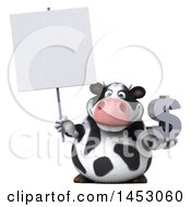 3d Holstein Cow Character Holding A Dollar Sign On A White Background
