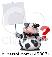 3d Holstein Cow Character Holding A Question Mark On A White Background