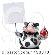 3d Holstein Cow Character Holding A Blood Drop On A White Background