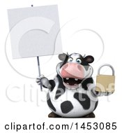 3d Holstein Cow Character Holding A Padlock On A White Background