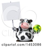3d Holstein Cow Character Holding A Globe On A White Background