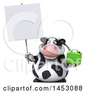 3d Holstein Cow Character Holding A Gas Can On A White Background