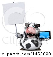 3d Holstein Cow Character Holding A Tablet Computer On A White Background