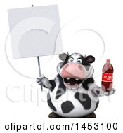 3d Holstein Cow Character Holding A Soda Bottle On A White Background