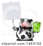 3d Holstein Cow Character Holding A Recycle Bin On A White Background
