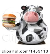 Clipart Graphic Of A 3d Holstein Cow Character Holding A Burger On A White Background Royalty Free Illustration by Julos