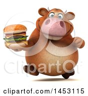 Poster, Art Print Of 3d Brown Cow Character Holding A Burger On A White Background