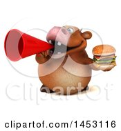 3d Brown Cow Character Holding A Burger On A White Background