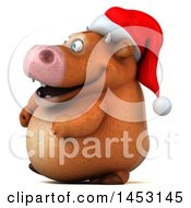 3d Brown Christmas Cow Character On A White Background