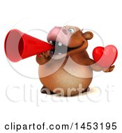 Poster, Art Print Of 3d Brown Cow Character Holding A Love Heart On A White Background