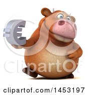 3d Brown Cow Character Holding A Euro Symbol On A White Background