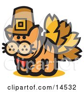 Ginger Cat Disguised As A Thanksgiving Turkey Clipart Illustration