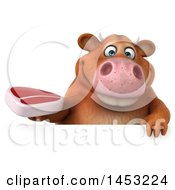 3d Brown Cow Character Holding A Steak On A White Background