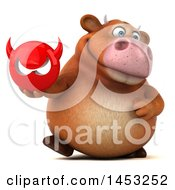 Clipart Graphic Of A 3d Brown Cow Character Holding A Devil Head On A White Background Royalty Free Illustration