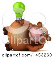Poster, Art Print Of 3d Brown Cow Character Holding A Light Bulb On A White Background